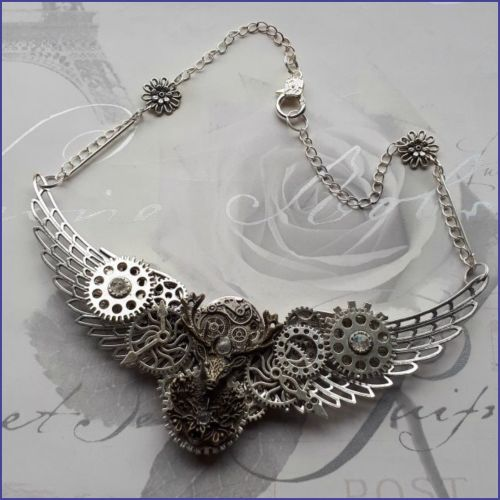 Steampunk Inspired Stag Necklace Cogs Gears Stags Head