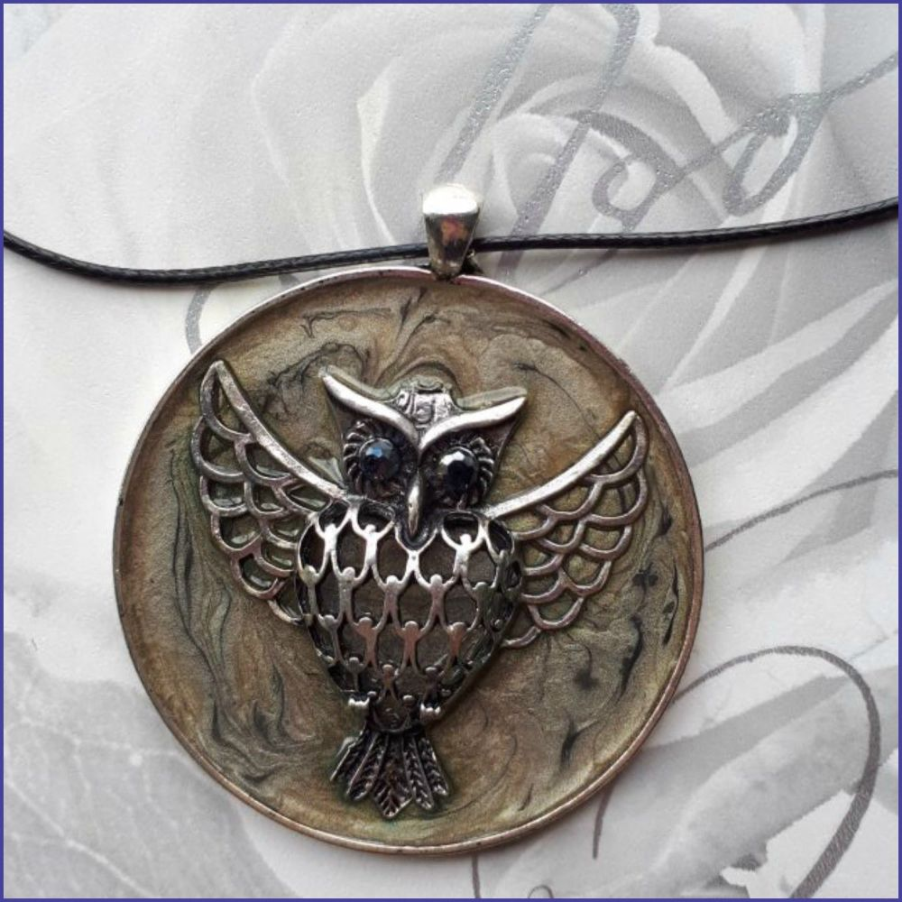 Large Owl Pendant Handmade Art Paint Mixed Media