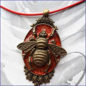Bronze Bee Pendant Handmade Art Paint Necklace