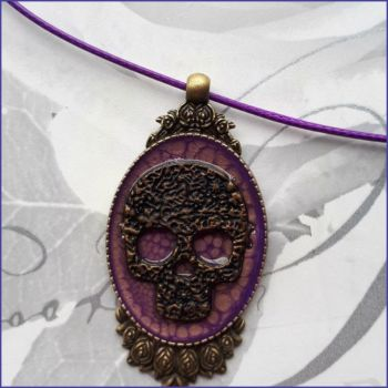 Skull Goth Halloween Pendant Necklace Art Paint Handmade Jewellery