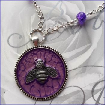Purple Art Paint Bee Pendant Necklace Handmade Jewellery