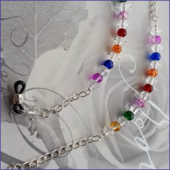 Rainbow Beaded Spectacles Glasses Chain Silver Plated Handmade