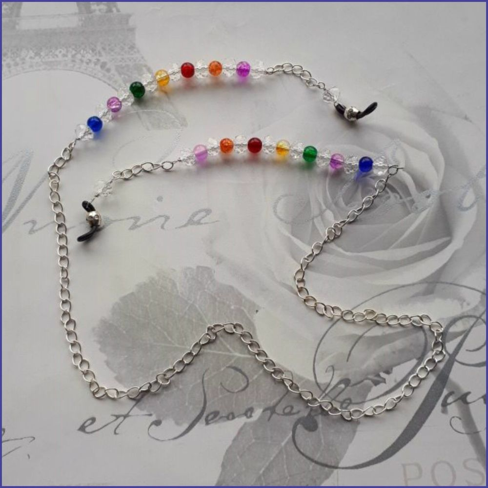 Spectacles Glasses Chain Rainbow Beads Silver Plated Chain Crystals Handmad