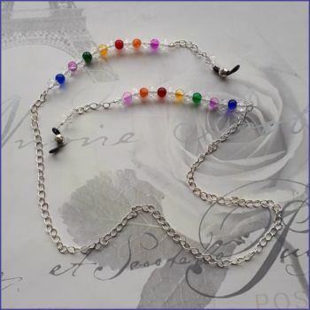 Spectacles Glasses Chain Rainbow Beads Silver Plated Chain Crystals Handmade