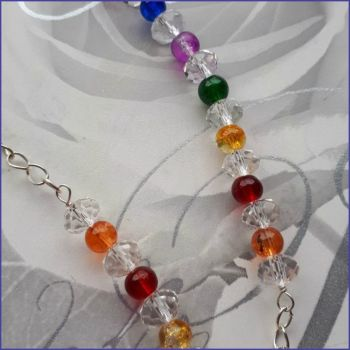 Spectacles Glasses Chain Rainbow Beaded Handmade Diamante