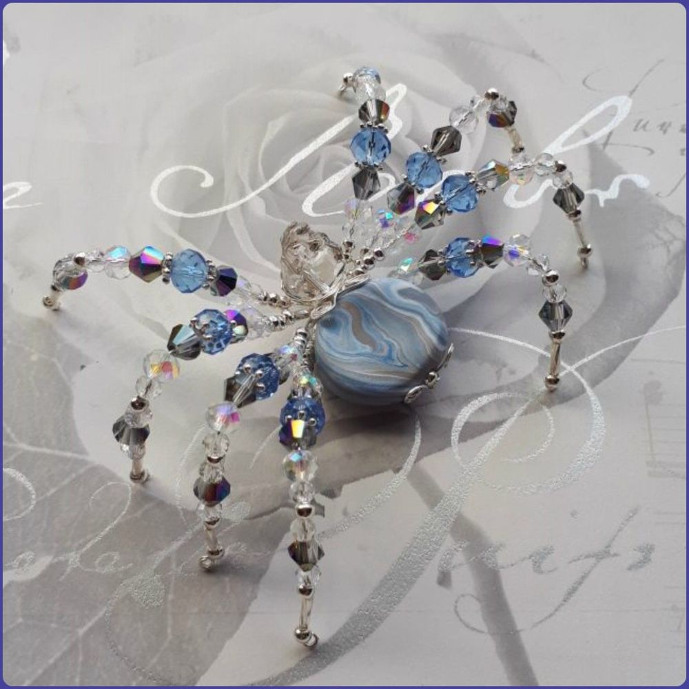 Handmade Crystal & Marbled Polymer Clay Beaded Spider Blue Grey