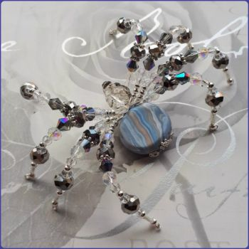 Handmade Crystal & Marbled Polymer Clay Beaded Spider Grey Blue
