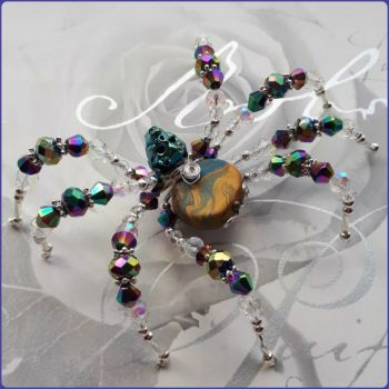Handmade Crystal & Marbled Polymer Clay Beaded Spider Teal