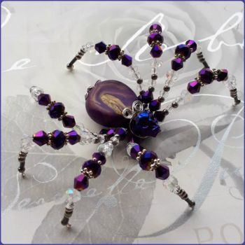 Handmade Crystal & Marbled Polymer Clay Beaded Spider Purple