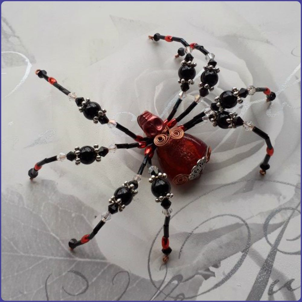 Handmade Beaded Spider Ornamental Home Decor Arachnid Black Red