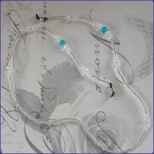 Spectacles Glasses Chain Crystal Beaded Handmade Diamante Turquoise