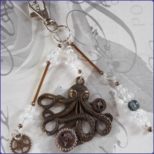 Steampunk Inspired Bag Charm Keyring Octopus Cogs Gears Crystals