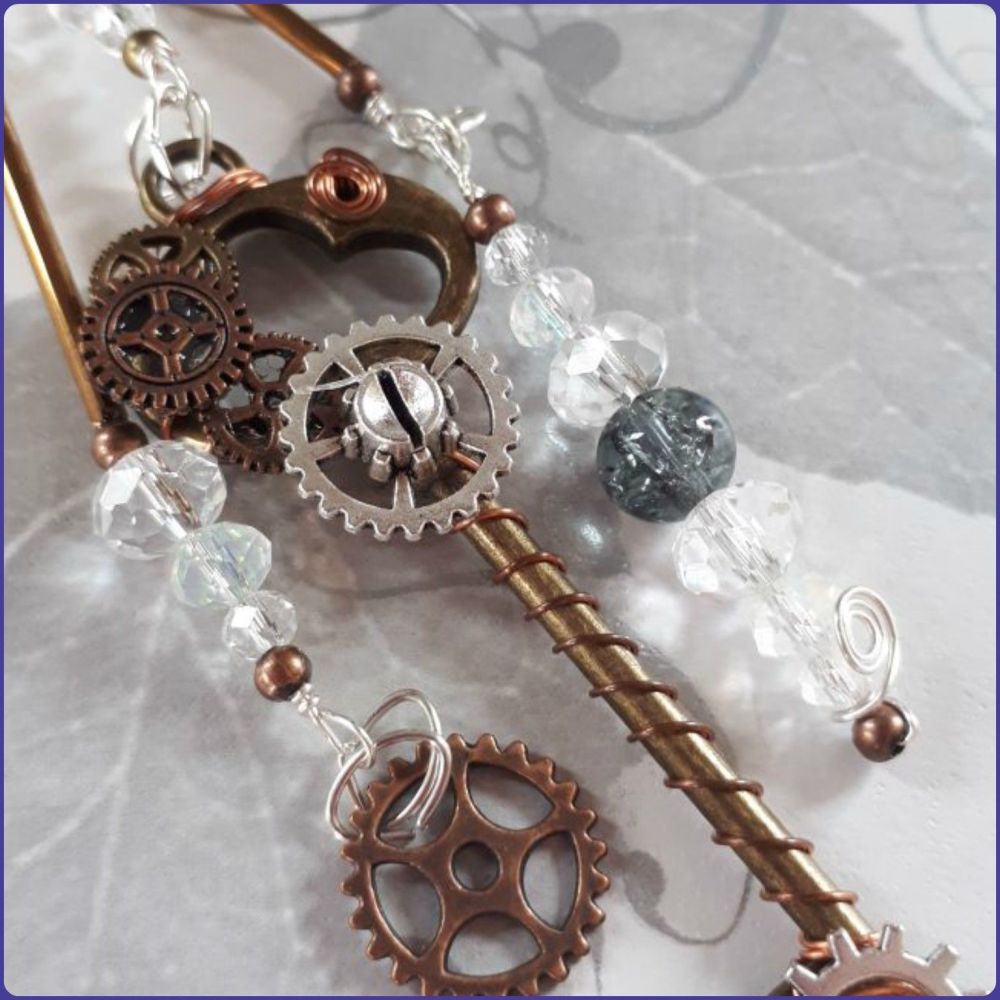 Steampunk Inspired Bag Charm Keyring Keys Cogs Gears Crystals