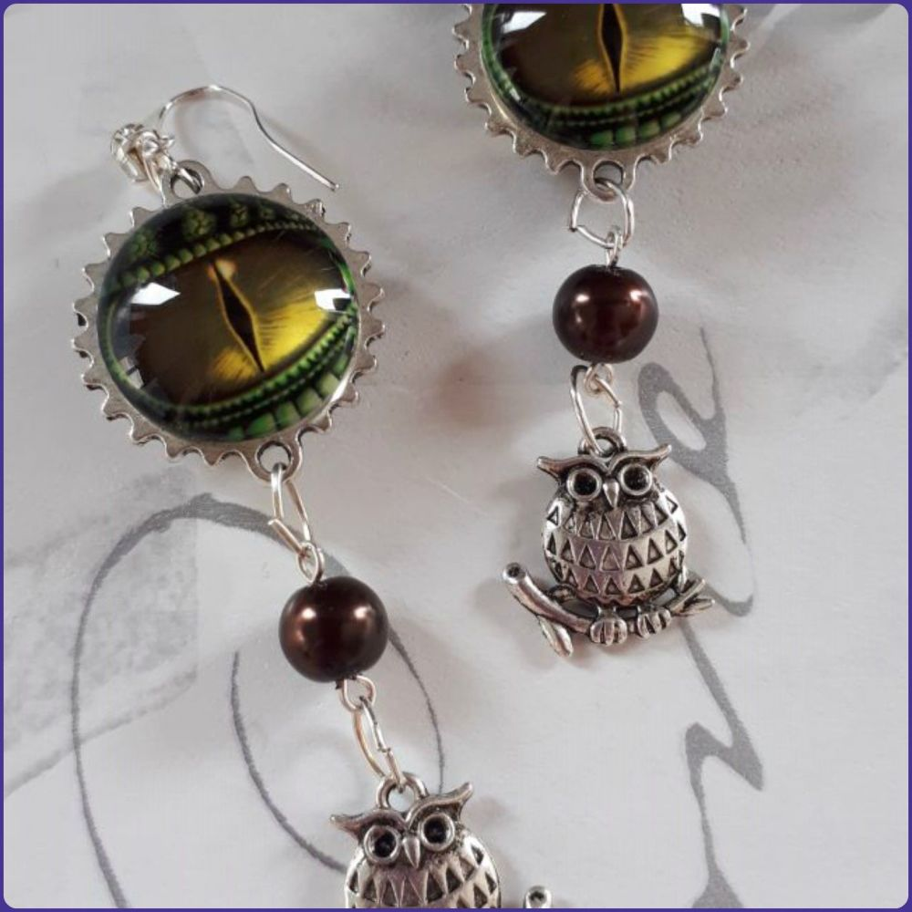 Handmade Glass Pearl  Owl Charm Earrings
