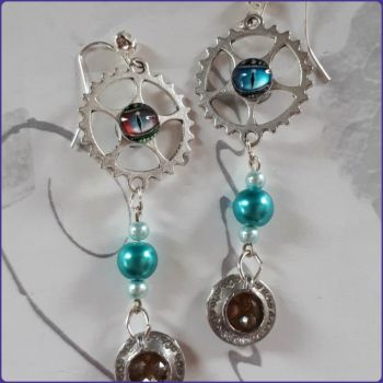 Steampunk Inspired Teacup Charm Earrings