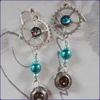 Steampunk Inspired Teacup Charm Earrings