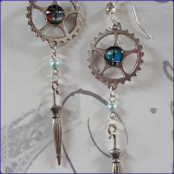 Steampunk Inspired Parasol Charm Earrings