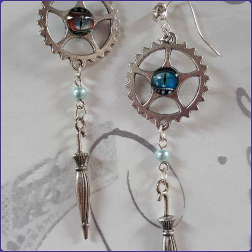 Steampunk Inspired Parasol Charm Earrings