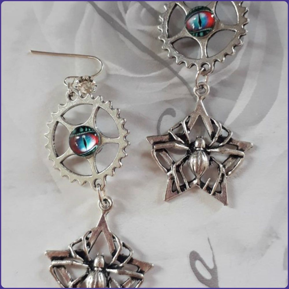 Spider Charm Steampunk Inspired Earrings