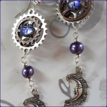 Crescent Moon Steampunk Inspired Earrings