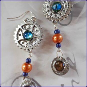 Glass Pearl Teacup Charm Earrings Steampunk Dragon Eye