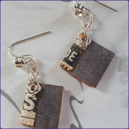 Handmade Miniature Book Journal Earrings