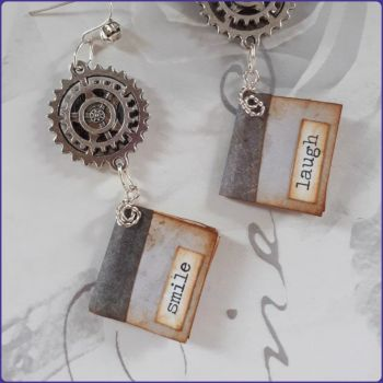 Miniature Book Journal Inspired Handmade Earrings