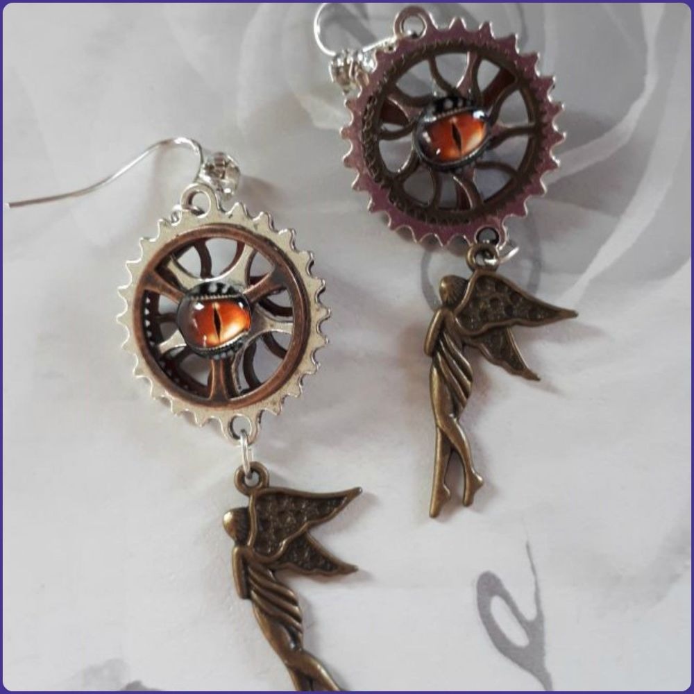 Steampunk Fairy Charm Handmade Earrings