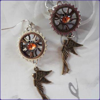 Steampunk Fairy Charm Handmade Earrings