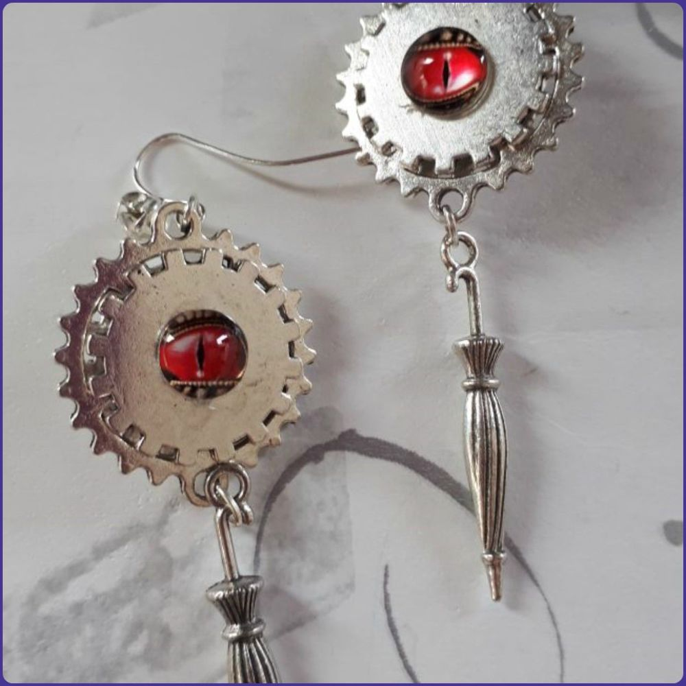 Steampunk Inspired Parasol Dragon Eye Earrings