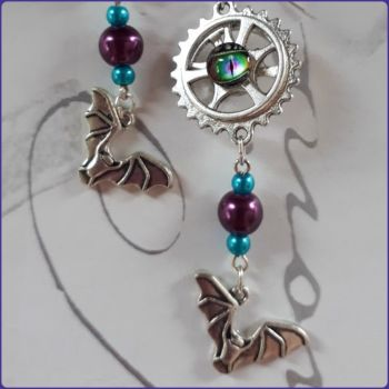 Steampunk Goth Inspired Earrings Bat Charms Dragon Eye