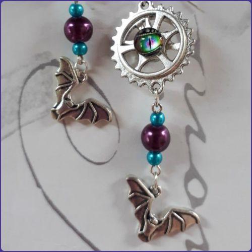 Steampunk Goth Inspired Earrings Bat Charms Dragon Eye