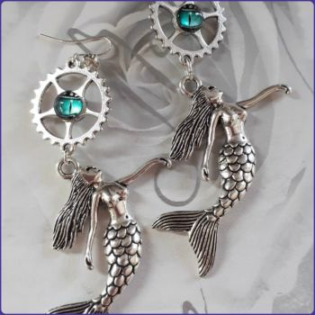 Mermaid Charm Handmade Earrings