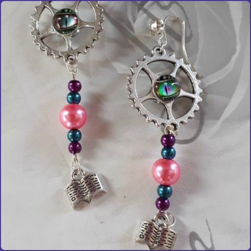 Quirky Handmade Earrings Steampunk Inspired Book Charms