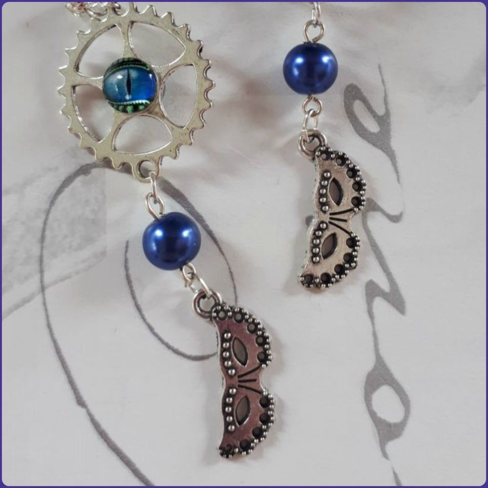 Steampunk Inspired Handmade Masquerade Mask Charm Earrings