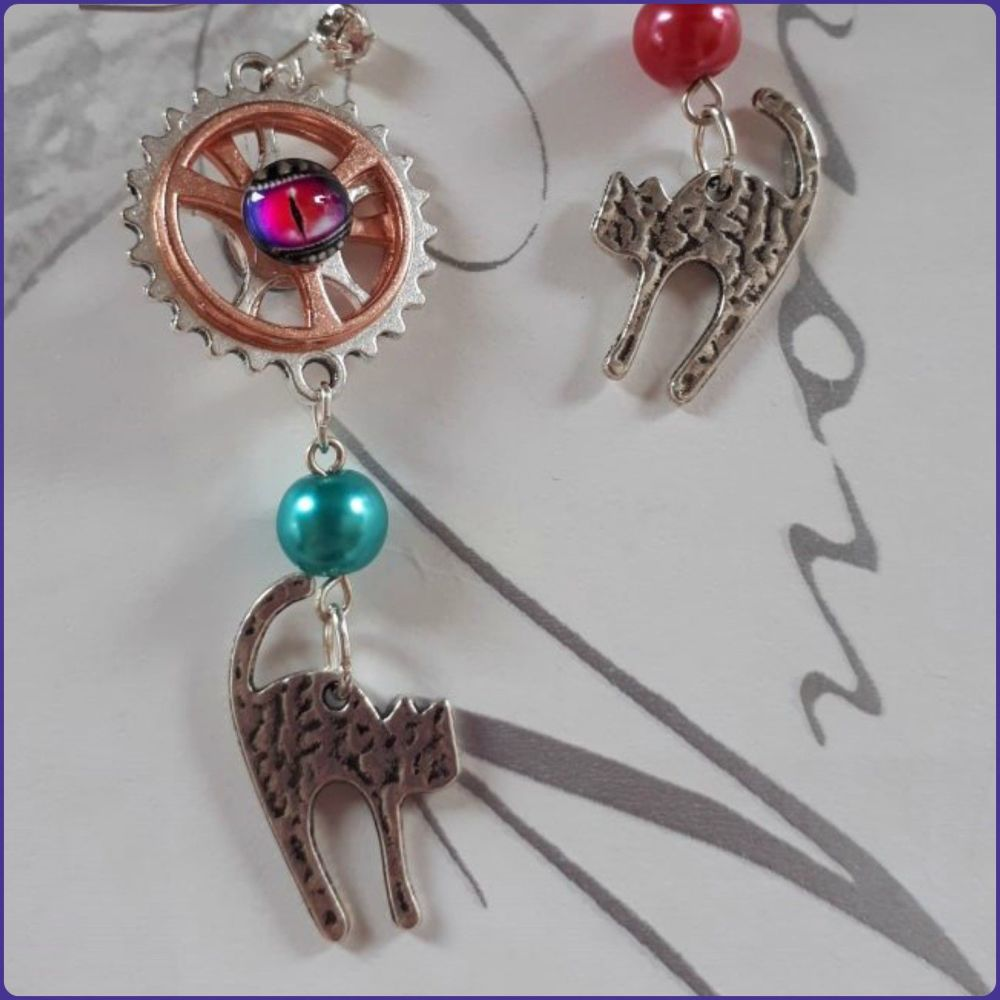 Handmade Pussy Cat Charm Earrings