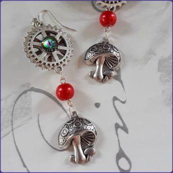 Handmade Mushroom Toadstool Charm Earrings