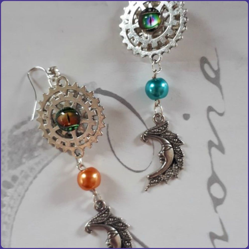 Steampunk Inspired Handmade Fantasy Moon Earrings