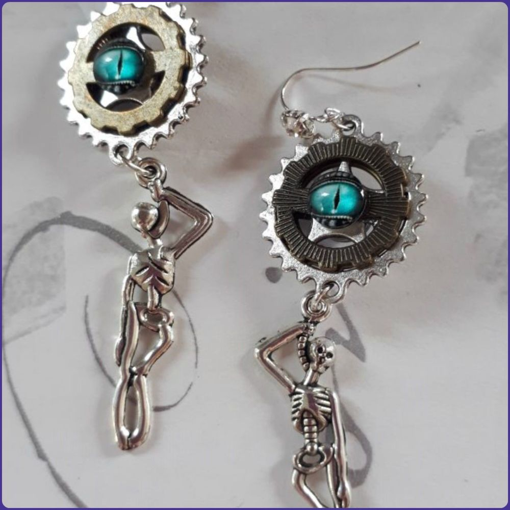 Skeleton Charm Steampunk Inspired Earrings