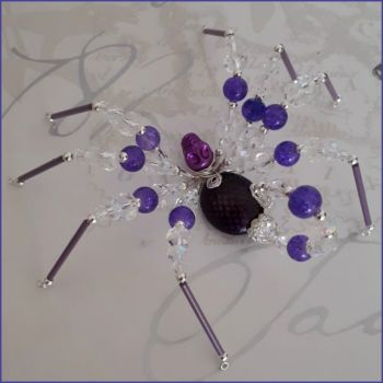 Spider Scorpion Beaded Handmade Gift Ornamental Purple