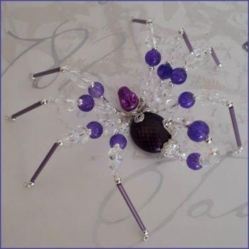 Spider Scorpion Beaded Handmade Gift Ornamental Purple
