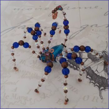 Spider Scorpion Beaded Handmade Gift Ornamental Blue Copper Lampwork