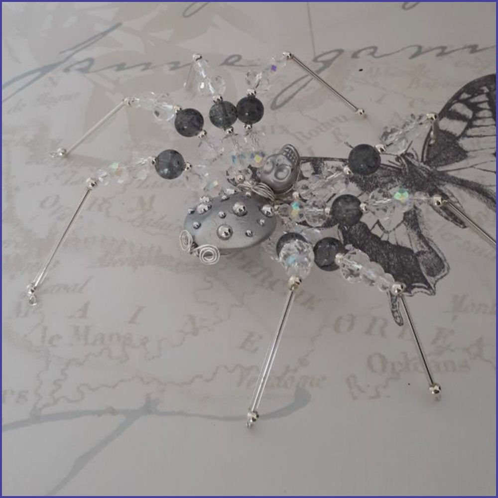 Beaded Spider Handmade Home Decor Gift Grey Silver