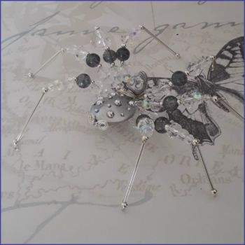 Beaded Spider Handmade Home Decor Gift Grey Silver