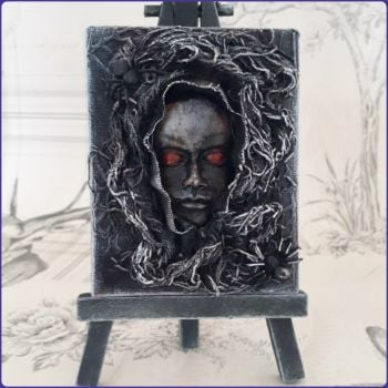 Mini Easel Canvas Wall Art Sculpture Gothic Halloween Face