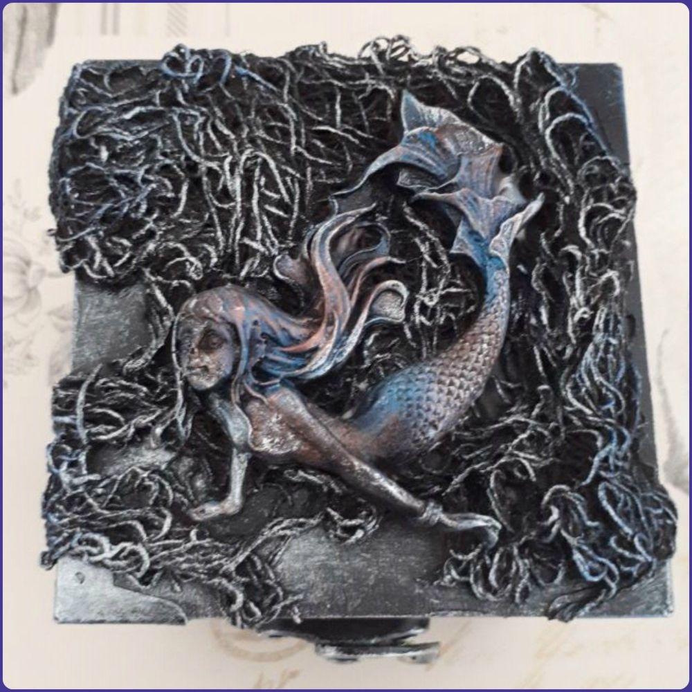 Sculptural Gothic Trinket Memory Storage Box Mermaid Halloween
