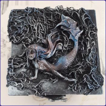 Sculptural Gothic Trinket Memory Storage Box Mermaid Halloween