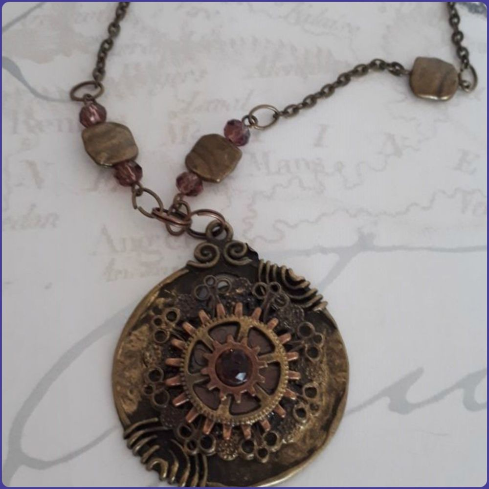 Medallion Pendant Steampunk Inspired Necklace Bronze