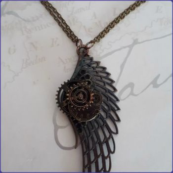 Steampunk Inspired Winged Cog Necklace Bronze