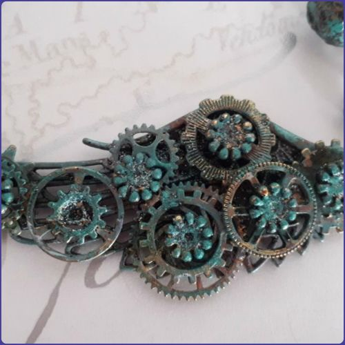 Steampunk Inspired Necklace Bronze Verdigris